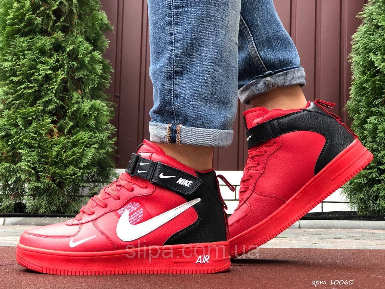 Мужские кожаные зимние кроссовки Nike Air Force красные с чёрным