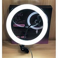 Кольцевая светодиодная лампа RING FILL LIGHT с держателем телефона, питание от usb диаметром 26см без штатива, фото 1