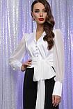 Блуза атласная с шифоновыми рукавами в белом цвете Аврил, фото 2