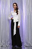Блуза атласная с шифоновыми рукавами в белом цвете Аврил, фото 3