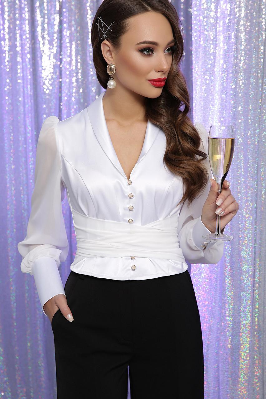 Блуза атласная с шифоновыми рукавами в белом цвете Аврил