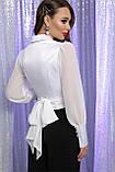 Блуза атласная с шифоновыми рукавами в белом цвете Аврил, фото 4