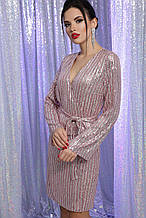 Вечернее платье с пайетками пудра серебро Земфира