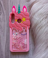 Чехол на Huawei Nova 4e Единорог розовый с блестками