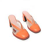 Мюли из кожи и сетки с вышивкой, каблук 8см, цвет оранж, фото 3