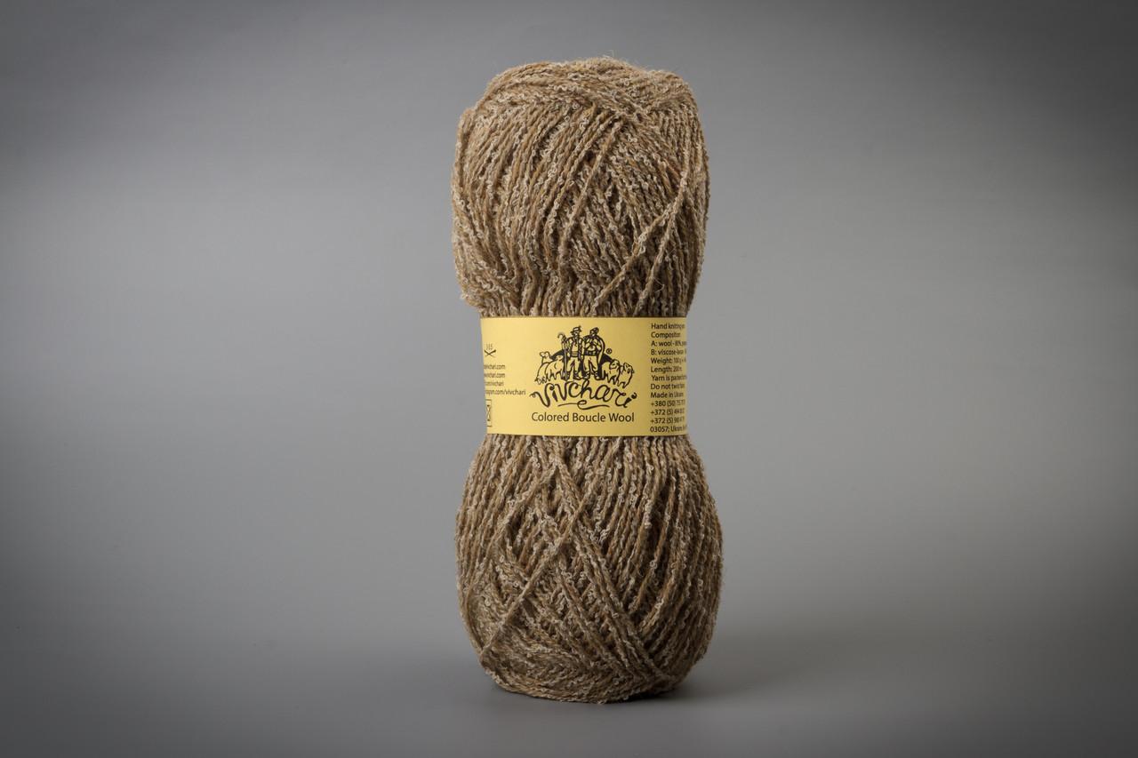 Пряжа полушерстяная Vivchari Colored Boucle Wool, Color No.901 беж букле + песочный