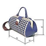 Сумка-ридикюль из кожи и текстиля Диор объемной конструкции, цвет синий, фото 3