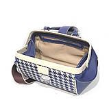 Сумка-ридикюль из кожи и текстиля Диор объемной конструкции, цвет синий, фото 5