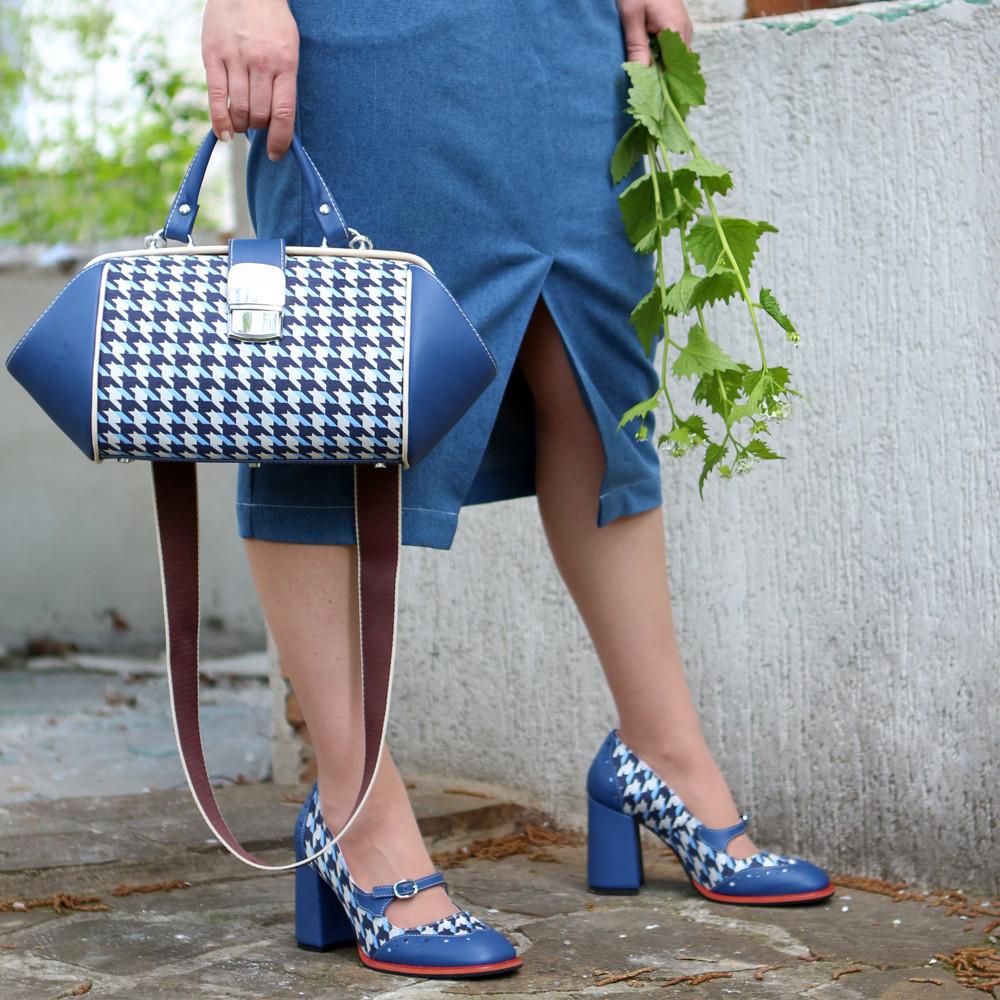 Сумка-ридикюль из кожи и текстиля Диор объемной конструкции, цвет синий