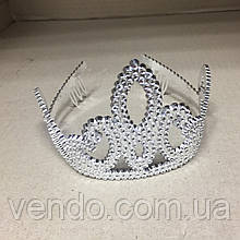 Корона диадема принцессы серебристая со стразами