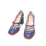 Туфли с тоненьким ремешком через подъем, каблук 8см, цвет синий, фото 3