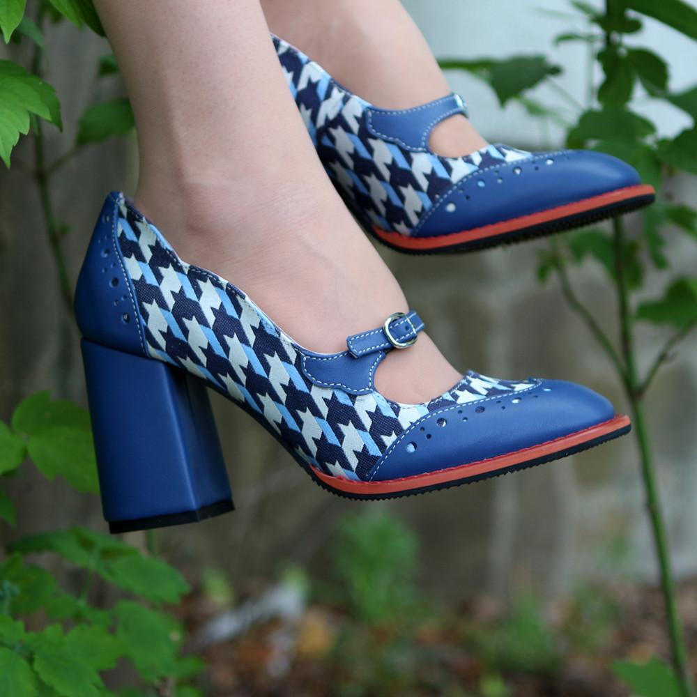 Туфли с тоненьким ремешком через подъем, каблук 8см, цвет синий