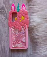 Чехол для Huawei P30 pro Единорог розовый с блестками