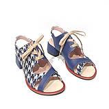 Босоножки на шнурках, каблук 4см, цвет синий, фото 3