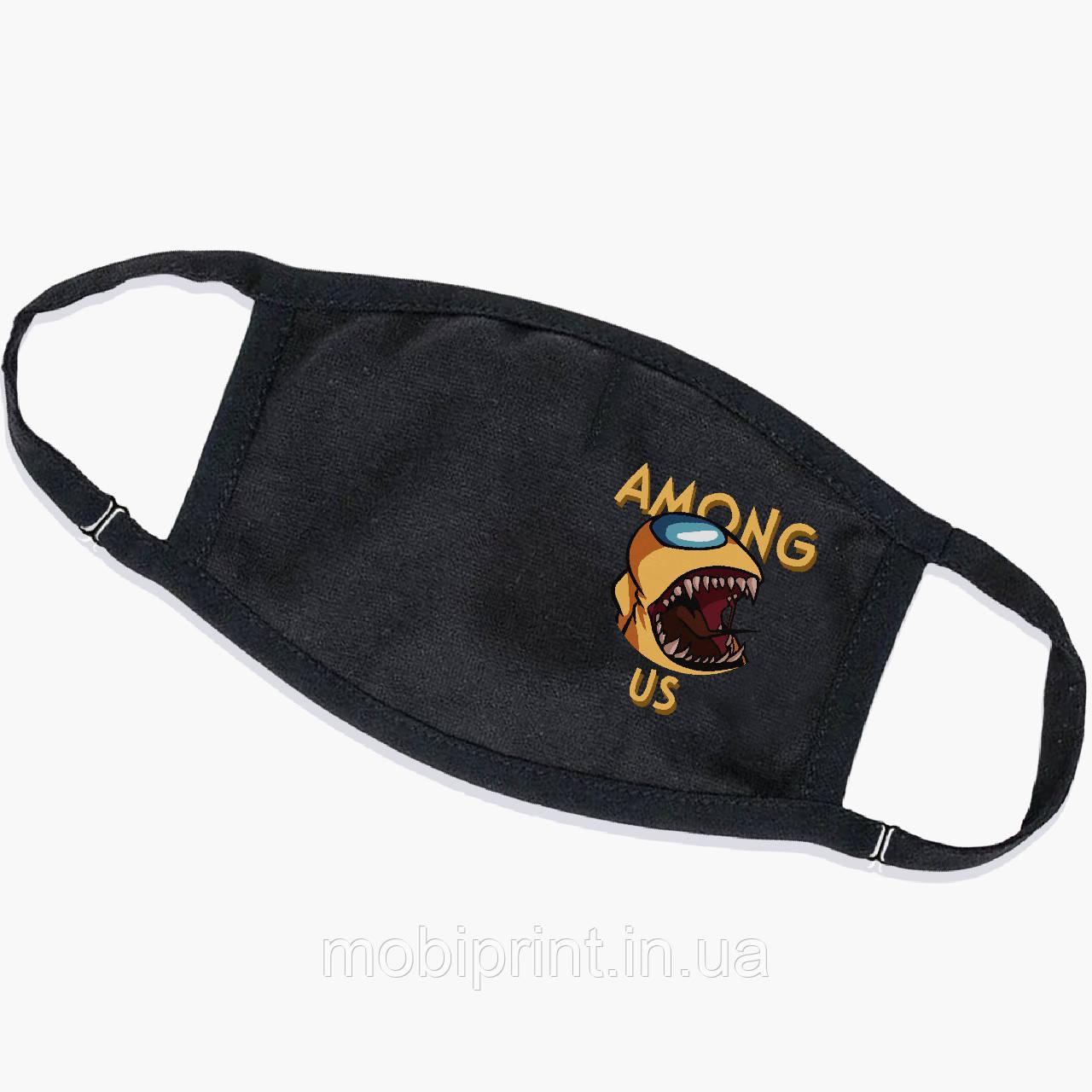 Багаторазова маска Амонг Ас Жовтий (Among Us Yellow) (9259-2409) тканинна для дітей і дорослих захисна