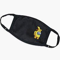 Багаторазова маска Амонг Ас Жовтий (Among Us Yellow) (9259-2416) тканинна для дітей і дорослих захисна, фото 1