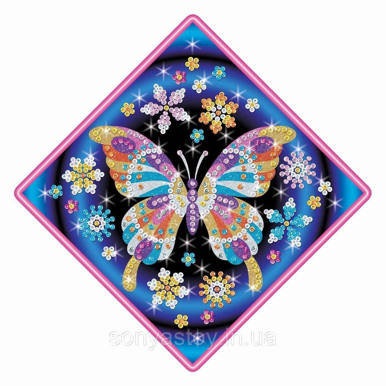 Набор для творчества Рисование цветным песком и пайетками Бабочка Stardust Butterfly, Sequin Art, 5+