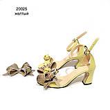 Босоножки со съемными бантами и фигурным каблуком 6см, цвет желтый, в наличии размер 36, фото 2