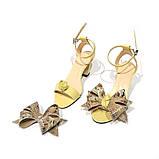 Босоножки со съемными бантами и фигурным каблуком 6см, цвет желтый, в наличии размер 36, фото 3