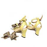 Босоножки со съемными бантами и фигурным каблуком 6см, цвет желтый, в наличии размер 36, фото 4