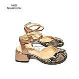 Босоножки с закрытым носком из кожи бронзового цвета и питона, каблук 4см, в наличии размер 36, фото 2