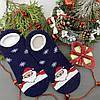 Шкарпетки-сліди жіночі махрові Дід Мороз Синій, фото 2