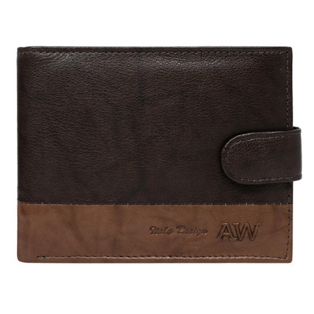 Мужское кожаное портмоне на кнопке коричневое Always Wild N992L-GA