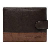 Мужское кожаное портмоне на кнопке коричневое Always Wild N992L-GA, фото 1