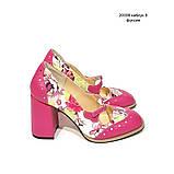Туфли с тоненьким ремешком через подъем, каблук 8см, цвет фуксия, фото 2