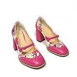 Туфли с тоненьким ремешком через подъем, каблук 8см, цвет фуксия, фото 3