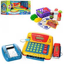Детский кассовый аппарат 7016-UA, корзинка, продукты, сканер, микрофон