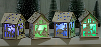 Декоративный деревянный домик с подсветкой Новогодний домик Новогодний дом