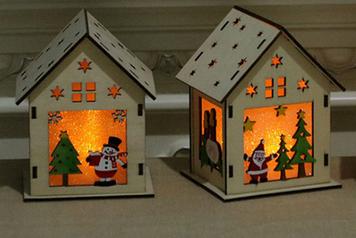 Декоративный деревянный домик с подсветкой Новогодний домик Новогодний дом Подарок на Новый Год