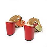Cабо с ремешками на подъеме, каблук 8см, цвет красный, оранж, желтый, горчица, фото 4
