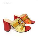 Cабо с ремешками на подъеме, каблук 8см, цвет красный, оранж, желтый, горчица, фото 2