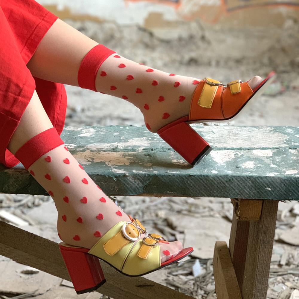 Cабо с ремешками на подъеме, каблук 8см, цвет красный, оранж, желтый, горчица