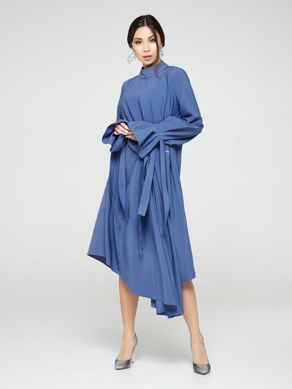 Женское платье синее дизайнерское асимметричного кроя Modna KAZKA