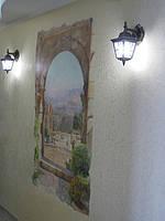 Фреска в интерьере на декоративной штукатурке гротто