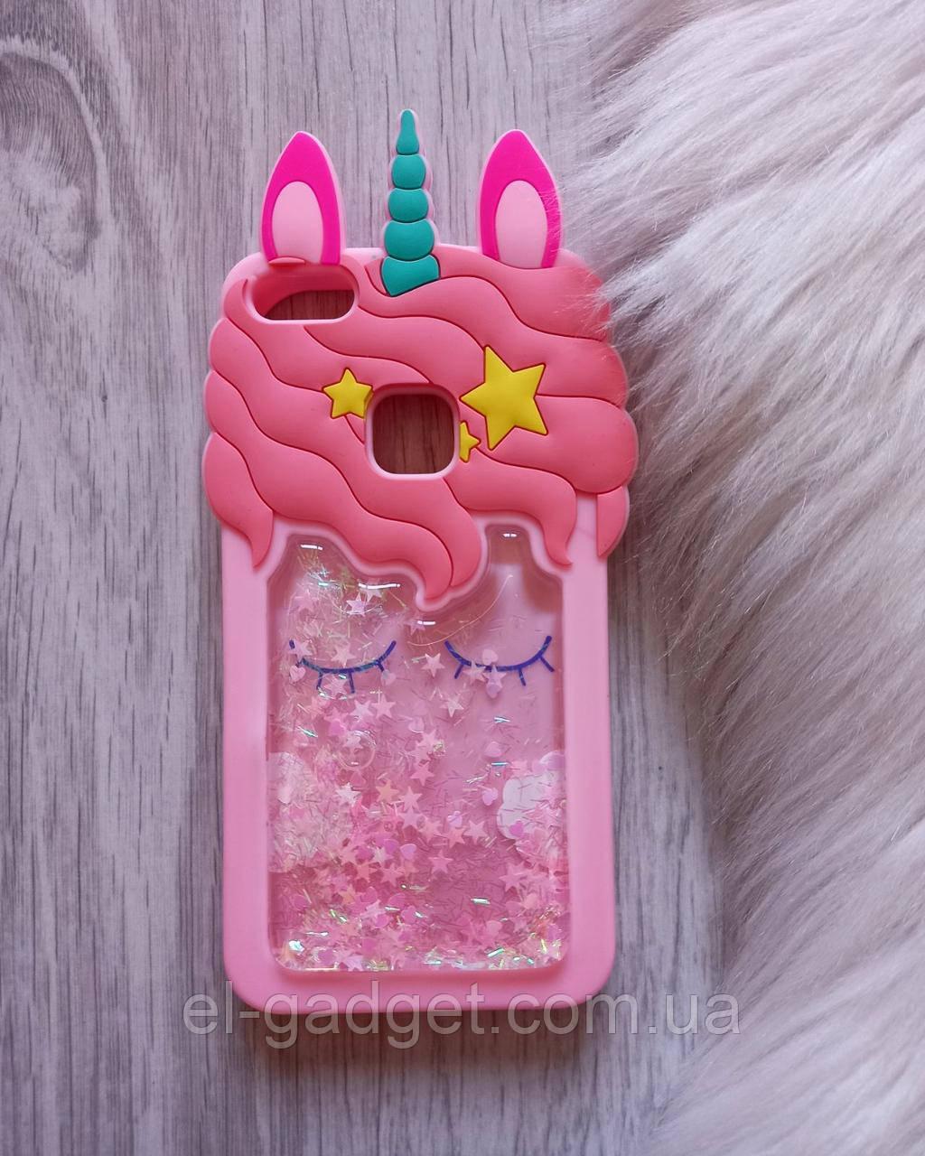 Чехол для Huawei P10 Lite Единорог розовый с блестками