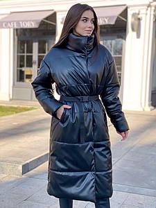 Стильное теплое пальто-пуховик из экокожи 42-46 р