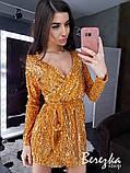 Женское сияющее платье с пайетки на велюре, фото 2