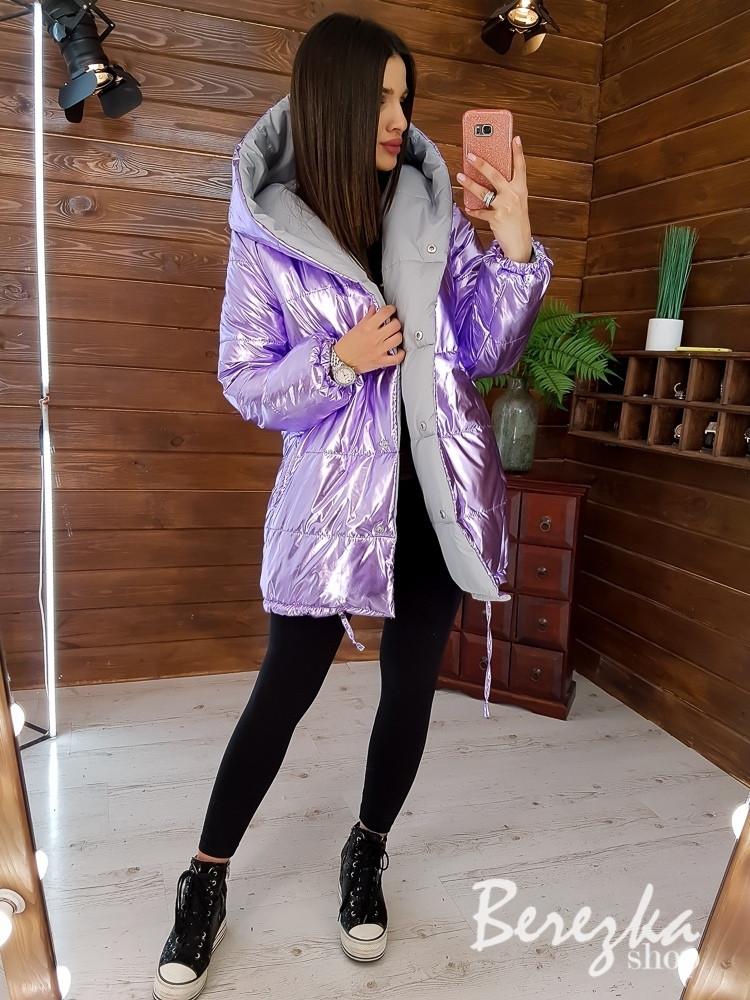 Женская двухсторонняя куртка-зефирка с капюшоном