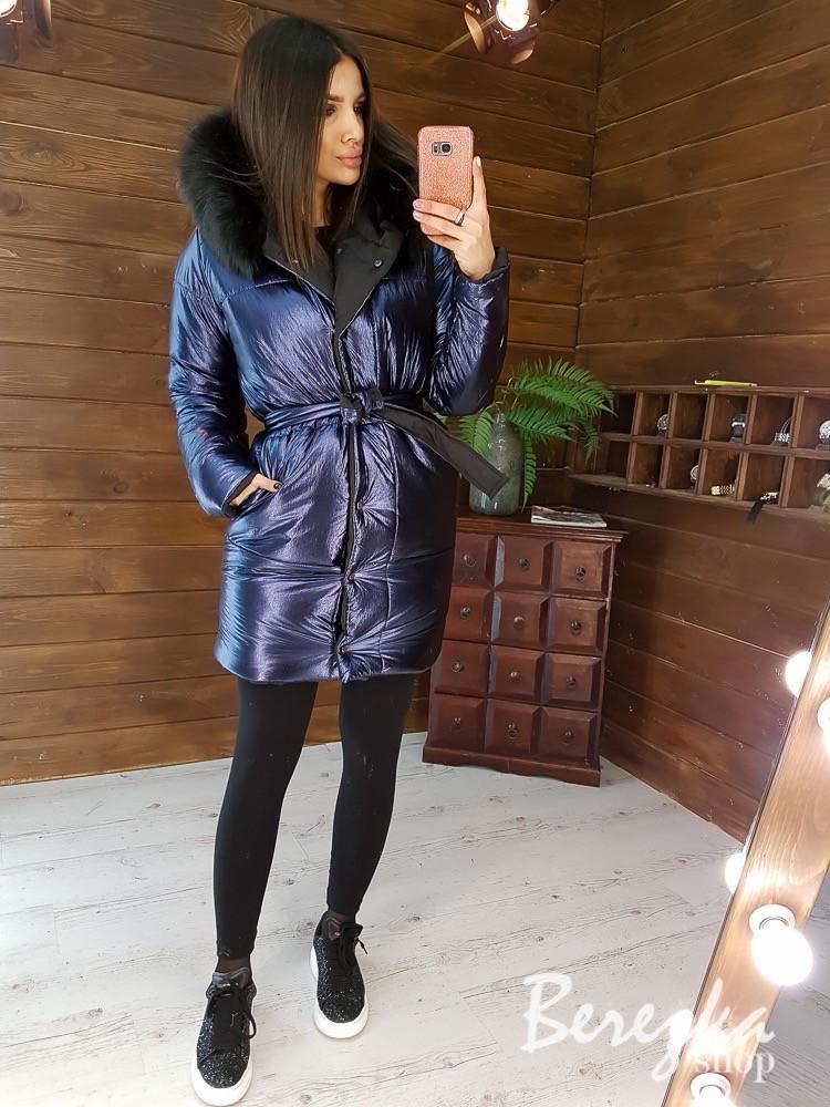 Женская зимняя двухсторонняя курточка с капюшоном