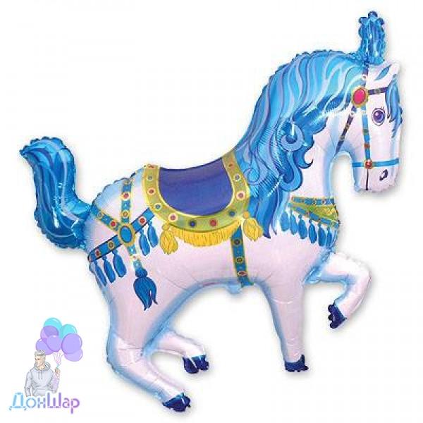 Фольгированный Шар Мини-Фигура Flexmetal 34х37 см Лошадь Цирковая Голубая