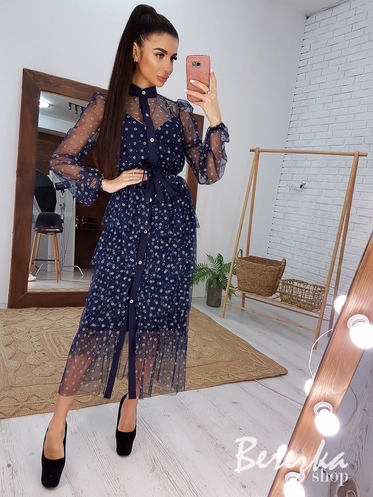 Женское воздушное платье-миди из сетки