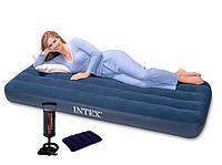 Матрас надувной одноместный Intex 64756, 76х191х25 см + ручной насос + 1 подушка | Матрац надувний одномісний