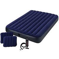 Матрас надувной двухместный Intex 64765, 152х203х25 см + ручной насос + 2 подушки | Матрац надувний двомісний