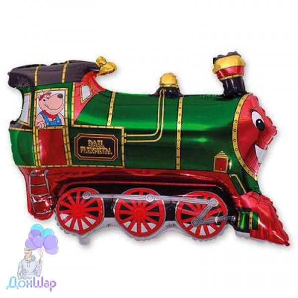 Фольгированный Шар Мини-Фигура Flexmetal 27х31 см Поезд Зелёный
