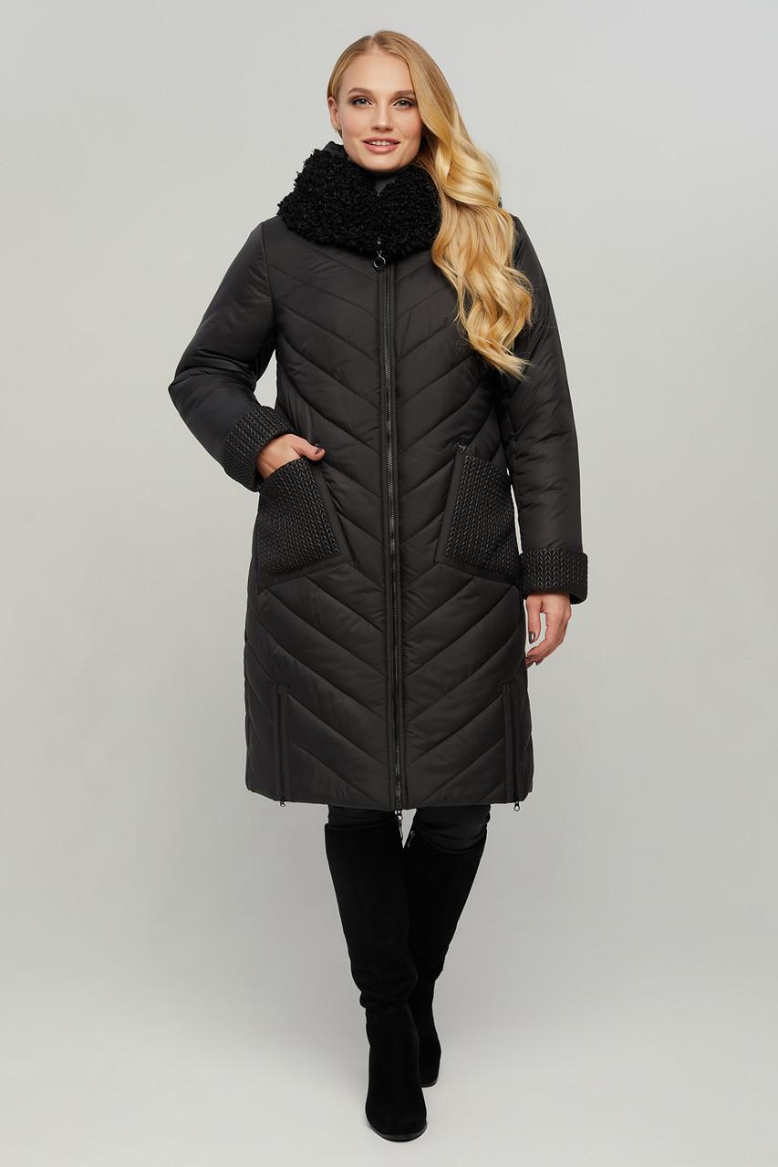 Куртка женская длинная зимняя теплая с мехом и капюшоном размеры: 50-60
