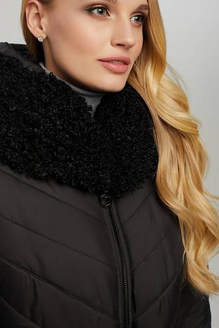 Куртка женская длинная зимняя теплая с мехом и капюшоном размеры: 50-60, фото 2
